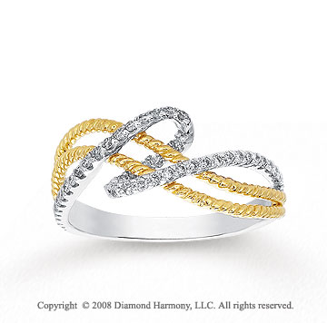 1/4 Carat Diamond 14k Two Tone Gold Twisted Rope Fashion Ring