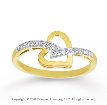 1/10 Carat Diamond 14k Yellow Gold Heart Fashion Ring