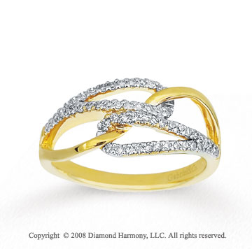 1/4 Carat Diamond 14k Yellow Gold Twisted Fashion Ring