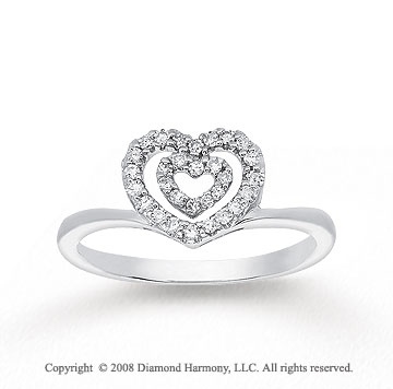 1/8 Carat Diamond 14k White Gold Heart Ring
