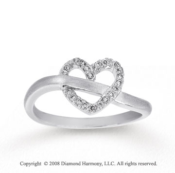 1/10 Carat Diamond 14k White Gold Heart Ring