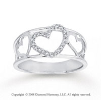 1/10 Carat Diamond 14k White Gold Heart Fashion Ring