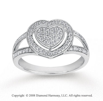 1/4 Carat Diamond 14k White Gold Heart Fashion Ring
