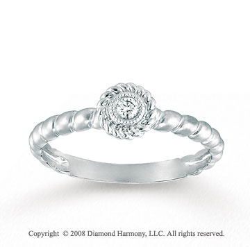 Charming 14k White Gold Diamond Rope Style Fashion Ring