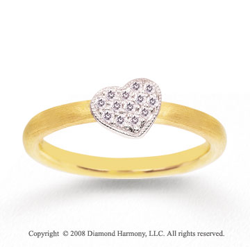 14k Two Tone Gold 1/10 Carat Diamond Heart Shape Stackable Ring