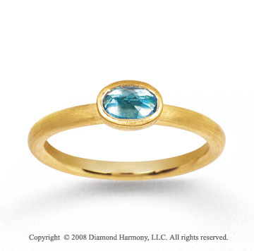14k Yellow Gold 1/2 Carat Oval Blue Topaz Stackable Ring