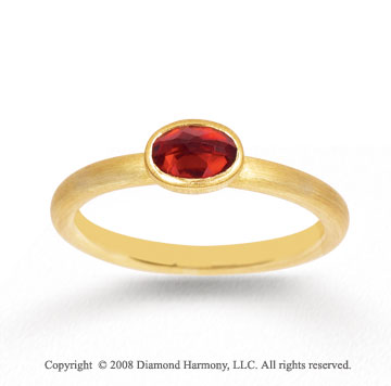 14k Yellow Gold 2/3 Carat Oval Garnet Stackable Ring