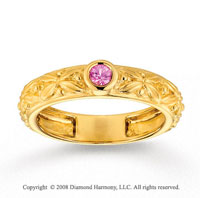 14k Yellow Gold Pink Sapphire Floral Stackable Ring