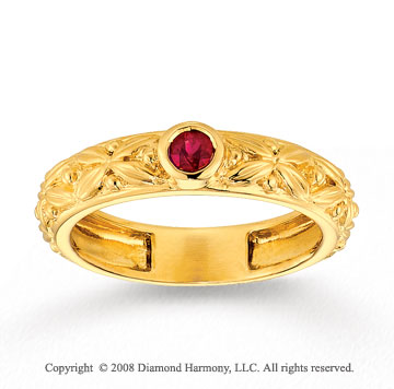 14k Yellow Gold Ruby Floral Stackable Ring