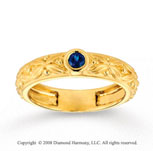 14k Yellow Gold Blue Sapphire Floral Stackable Ring