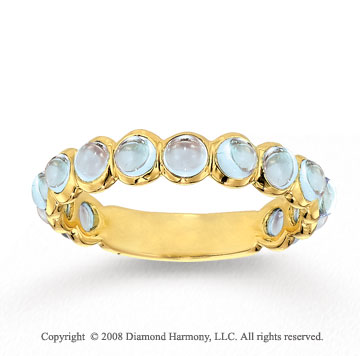 14k Yellow Gold Bezel Cabochon Moonstone Stackable Ring