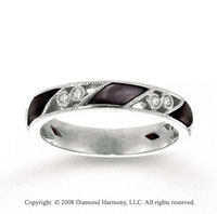 14k White Gold Diamond Black Mother of Pearl Stackable Ring