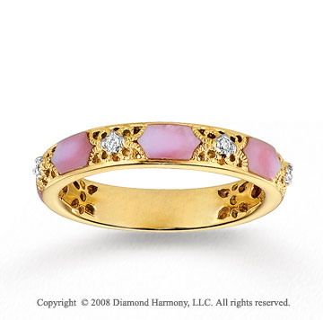 14k Yellow Gold Diamond Pink Mother of Pearl Stackable Ring