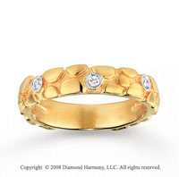 14k Yellow Gold 1/10 Carat Diamond Carved Stackable Ring
