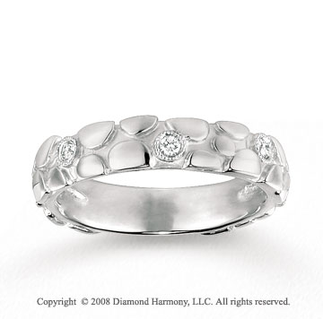 14k White Gold 1/10 Carat Diamond Carved Stackable Ring