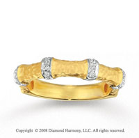 14k Yellow Gold Hammered Diamond Stackable Ring