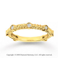 14k Yellow Gold 1/5 Carat Diamond Rope Stackable Ring