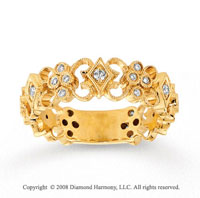 14k Yellow Gold 1/4 Carat Diamond Filigree Stackable Ring
