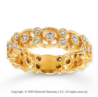 14k Yellow Gold 1/2 Carat Diamond Filigree Stackable Ring