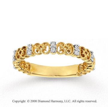 14k Yellow Gold 1/6 Carat Diamond Filigree Stackable Ring
