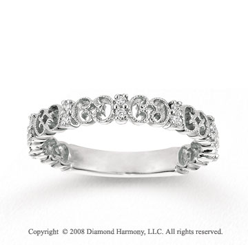 14k White Gold 1/6 Carat Diamond Filigree Stackable Ring