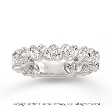 14k White Gold 1/3 Carat Diamond Hearts Stackable Ring