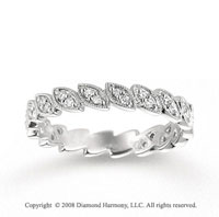 14k White Gold 1/5 Carat Diamond Marquise Stackable Ring