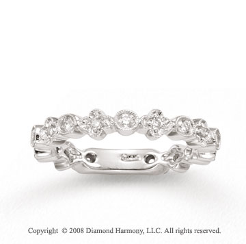 14k White Gold 2/5 Carat Diamond Clover and Round Stackable Ring