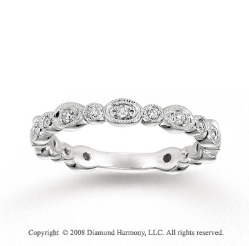 14k White Gold 1/5 Carat Diamond Milgrain Stylish Stackable Ring