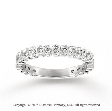 14k White Gold Milgrain 2/5 Carat Diamond Stackable Ring