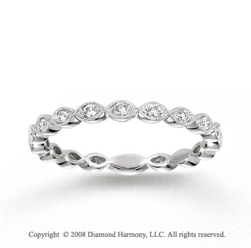14k White Gold Milgrain 1/4 Carat Diamond Stackable Ring