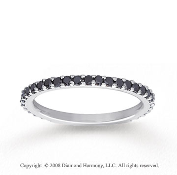 14k White Gold Prong Round Black Diamond Stackable Ring