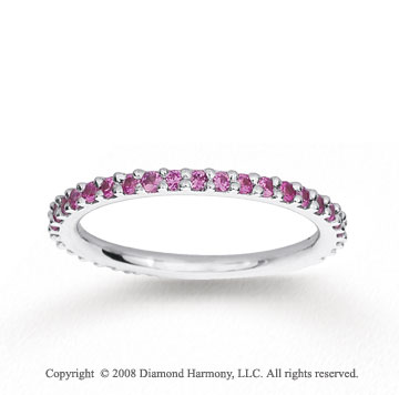 14k White Gold Prong Round Pink Sapphire Stackable Ring
