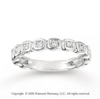 14k White Gold 1/5 Carat Diamond Squares Stackable Ring