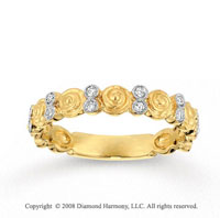 14k Yellow Gold Carved 1/6 Carat Diamond Stackable Ring