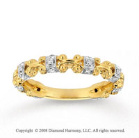 14k Yellow Gold Carved 1/10 Carat Diamond Stackable Ring