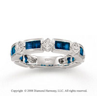 14k White Gold Blue Sapphire and 1/6 Carat Diamond Stackable Ring