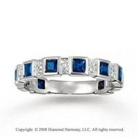 14k White Gold Blue Sapphire and Diamond Stackable Ring