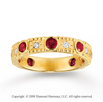 14k Yellow Gold 1/10 Carat Diamond and Ruby Stackable Ring