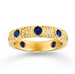14k Yellow Gold 1/10 Carat Diamond and Sapphire Stackable Ring