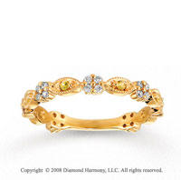 14k Yellow Gold 1/4 Carat Diamond and Yellow Sapphire Stackable Ring