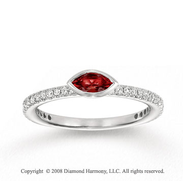 14k White Gold 1/4 Carat Diamond 1/3 Carat Marquise Garnet Stackable Ring