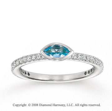 14k White Gold 1/4 Carat Diamond 1/4 Carat Marquise Aquamarine Stackable Ring