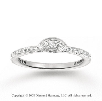 14k White Gold 1/3 Carat Diamond  Stackable Ring