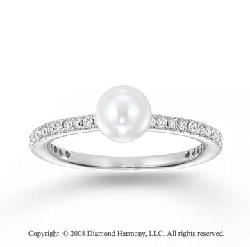 14k White Gold 1/4 Carat Diamond and Pearl Stackable Ring
