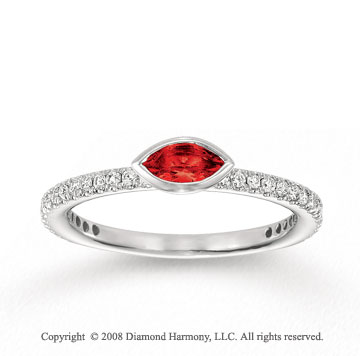 14k White Gold 1/4 Carat Diamond 1/3 Carat Marquise Ruby Stackable Ring