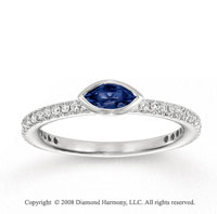 14k White Gold 1/4 Carat Diamond 1/3 Carat Marquise Blue Sapphire Stackable Ring