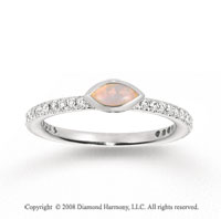 14k White Gold 1/4 Carat Diamond 1/3 Carat Marquise Opal Stackable Ring