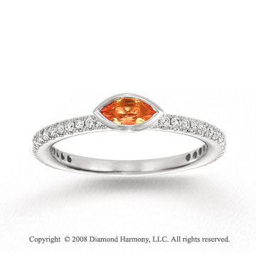 14k White Gold 1/4 Carat Diamond 1/3 Carat Marquise Citrine Stackable Ring
