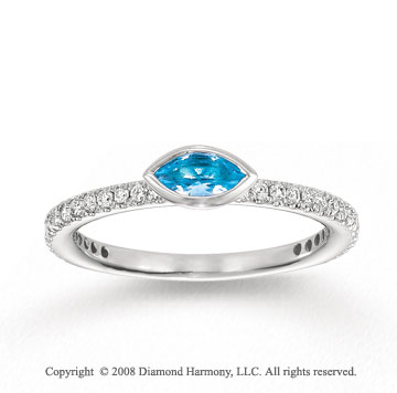 14k White Gold 1/4 Carat Diamond 1/3 Carat Marquise Blue Topaz Stackable Ring